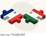 Купить «France and Hungary Flags», иллюстрация № 15669697 (c) PantherMedia / Фотобанк Лори