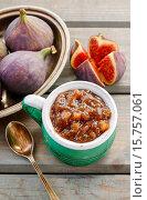 Купить «Jug of fig jam and bowl of fresh figs. Healthy fruits», фото № 15757061, снято 20 ноября 2017 г. (c) age Fotostock / Фотобанк Лори