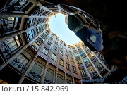 Купить «View from inside of Casa Mila, popularly known as La Pedrera, meaning the ´The Quarry´, is a modernist building in Barcelona, Catalonia, Spain. It was...», фото № 15842969, снято 29 декабря 2014 г. (c) age Fotostock / Фотобанк Лори