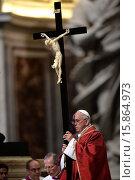 Купить «Pope Francis during the Holy Friday, celebration of the Lord's Passion. Vatican City 03/04/2015.», фото № 15864973, снято 3 апреля 2015 г. (c) age Fotostock / Фотобанк Лори
