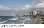 Купить «Вид на Тель-Авив со стороны старого Яффо», видеоролик № 15983849, снято 30 ноября 2015 г. (c) Наталья Волкова / Фотобанк Лори