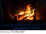 Купить «close up of burning fireplace at home», фото № 15992681, снято 16 октября 2015 г. (c) Syda Productions / Фотобанк Лори