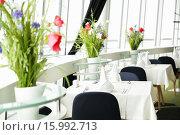 Купить «decorated tables at restaurant», фото № 15992713, снято 27 апреля 2015 г. (c) Syda Productions / Фотобанк Лори