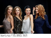 Купить «happy young women dancing at night club disco», фото № 15993161, снято 21 ноября 2015 г. (c) Syda Productions / Фотобанк Лори