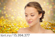 Купить «smiling young woman face and shoulders», фото № 15994377, снято 31 октября 2015 г. (c) Syda Productions / Фотобанк Лори