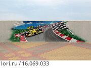 Купить «Граффити на набережной Сочи, посвященное гонкам Формула-1», фото № 16069033, снято 5 августа 2015 г. (c) Игорь Долгов / Фотобанк Лори
