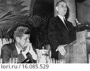 Купить «Los Angeles, California: July 15, 1960.Democratic Presidential nominee Sen. John Kennedy listens as his running mate, Sen. Lyndon Johnson, assures a group...», фото № 16085529, снято 31 марта 2020 г. (c) age Fotostock / Фотобанк Лори