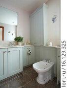 Купить «Bathroom interior in a home in the UK in a pastel blue - green color.», фото № 16129325, снято 6 сентября 2014 г. (c) age Fotostock / Фотобанк Лори