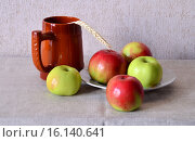 Пивная кружка и яблоки на тарелке. Стоковое фото, фотограф Игорь Буранок / Фотобанк Лори
