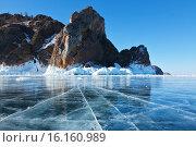 Купить «Байкал зимой. Северная оконечность острова Ольхон - мыс Хобой со льда», фото № 16160989, снято 26 марта 2011 г. (c) Виктория Катьянова / Фотобанк Лори