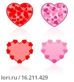 Купить «Сердечки на белом фоне - иконки ко Дню святого Валентина», иллюстрация № 16211429 (c) Ирина Иглина / Фотобанк Лори