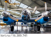 Germany, Bavaria, Munich-Oberschleissheim, Deutsches Museum Aviation Collection, housed at former NATO airfield, CASA 2. 111 WW2-era bomber, Spanish license-built version of German Heinkel HE-111. (2014 год). Редакционное фото, фотограф Walter Bibikow / age Fotostock / Фотобанк Лори