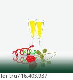 Шампанское и роза. Стоковая иллюстрация, иллюстратор Фёдор Мешков / Фотобанк Лори