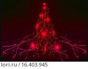 Рождественская елка, красный неон. Стоковая иллюстрация, иллюстратор Фёдор Мешков / Фотобанк Лори