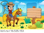 Купить «Cowboy on horse theme image», иллюстрация № 16535153 (c) PantherMedia / Фотобанк Лори