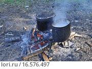 Приготовление пищи на костре. Стоковое фото, фотограф Сергей Дрозд / Фотобанк Лори