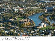 Купить «Ивангородская крепость и Нарвский замок, вид сверху», фото № 16585777, снято 27 сентября 2015 г. (c) Михаил Трибой / Фотобанк Лори