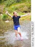 Купить «Girl running through water», фото № 16596637, снято 18 ноября 2017 г. (c) easy Fotostock / Фотобанк Лори