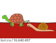 Купить «race _ snail and tortoise», фото № 16640497, снято 19 октября 2018 г. (c) easy Fotostock / Фотобанк Лори