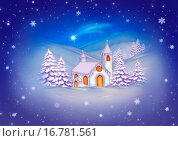 Купить «Snowy Christmas Landscape with the rural church», фото № 16781561, снято 17 июня 2019 г. (c) easy Fotostock / Фотобанк Лори