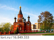 Купить «Red stone orthodox church with black cupolas», фото № 16849333, снято 22 сентября 2019 г. (c) easy Fotostock / Фотобанк Лори
