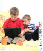 Купить «Brothers with a laptop», фото № 16898497, снято 14 июля 2020 г. (c) easy Fotostock / Фотобанк Лори