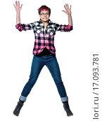 Купить «Full length portrait of an extreme nervous woman jumping in studio on white isolated background», фото № 17093781, снято 20 января 2020 г. (c) easy Fotostock / Фотобанк Лори