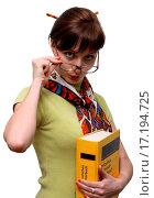 Купить «Funny student holding a dictionary», фото № 17194725, снято 15 ноября 2018 г. (c) easy Fotostock / Фотобанк Лори