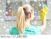 Купить «happy woman cleaning cabinet at home kitchen», фото № 17249981, снято 25 января 2015 г. (c) Syda Productions / Фотобанк Лори