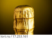 Купить «close up of champagne bottle cork wrapped in foil», фото № 17253161, снято 18 ноября 2015 г. (c) Syda Productions / Фотобанк Лори