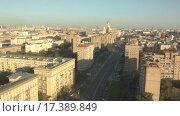 Купить «Москва на рассвете. Видео с высоты птичьего полёта», видеоролик № 17389849, снято 25 июня 2019 г. (c) kinocopter / Фотобанк Лори