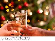 Купить «Man and Woman Toasting Champagne in Front of Decor and Lights.», фото № 17710373, снято 16 декабря 2017 г. (c) easy Fotostock / Фотобанк Лори