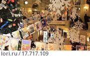 Купить «Новогодние украшения. ГУМ. Москва», видеоролик № 17717109, снято 24 декабря 2015 г. (c) Яна Королёва / Фотобанк Лори