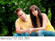 Купить «Relationship problems _ couple in park», фото № 17721701, снято 19 июня 2019 г. (c) easy Fotostock / Фотобанк Лори