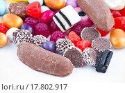 Купить «Many candy on white background.Fruit snacks», фото № 17802917, снято 24 января 2019 г. (c) easy Fotostock / Фотобанк Лори