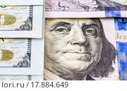 Купить «Benjamin Franklin portrait from 100 dollars banknote», фото № 17884649, снято 23 марта 2019 г. (c) FotograFF / Фотобанк Лори