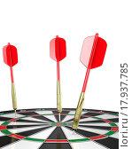 Купить «Three darts stuck in a board, top view», фото № 17937785, снято 21 сентября 2019 г. (c) easy Fotostock / Фотобанк Лори