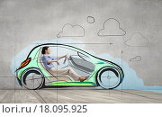 Купить «Woman in drawn car», фото № 18095925, снято 18 октября 2019 г. (c) Sergey Nivens / Фотобанк Лори