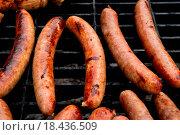 Купить «Sausages on grill», фото № 18436509, снято 27 марта 2019 г. (c) easy Fotostock / Фотобанк Лори