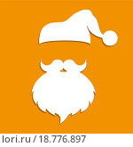 Шапка и борода деда мороза,вектор. Стоковая иллюстрация, иллюстратор Мастепанов Павел / Фотобанк Лори