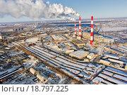 Купить «Городская ТЭЦ зимой, вид с высоты. Тюмень, Россия», фото № 18797225, снято 17 ноября 2015 г. (c) Сергей Буторин / Фотобанк Лори