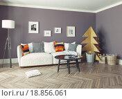 Купить «Интерьер гостиной с искусственной деревянной елкой», фото № 18856061, снято 16 января 2019 г. (c) Виктор Застольский / Фотобанк Лори