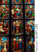 France, stained glass window in the cathedral of Pontoise. Стоковое фото, фотограф Hallé / easy Fotostock / Фотобанк Лори
