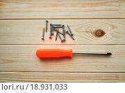 Купить «Крестовая отвертка и шурупы на деревянном фоне», фото № 18931033, снято 19 июля 2018 г. (c) Зезелина Марина / Фотобанк Лори
