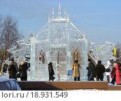 Купить «Ледовые скульптуры в Парке Победы в Москве», эксклюзивное фото № 18931549, снято 5 января 2010 г. (c) lana1501 / Фотобанк Лори