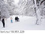 Катание на лыжах в городском парке (2015 год). Редакционное фото, фотограф Игорь Акимов / Фотобанк Лори