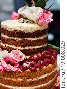 Купить «Большой свадебный торт. Крупный план», эксклюзивное фото № 19008029, снято 13 сентября 2015 г. (c) Игорь Низов / Фотобанк Лори