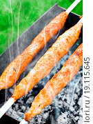 Купить «Delicious juicy meat kebab on outdoors grill», фото № 19115645, снято 21 ноября 2019 г. (c) easy Fotostock / Фотобанк Лори