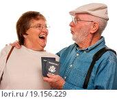 Купить «Happy Senior Couple with Passports and Bags on White», фото № 19156229, снято 5 апреля 2020 г. (c) easy Fotostock / Фотобанк Лори