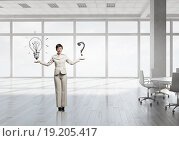 Купить «Businesswoman in top floor office», фото № 19205417, снято 19 июня 2019 г. (c) Sergey Nivens / Фотобанк Лори